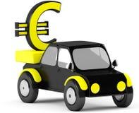 3D euro podpisuje wewnątrz czarnego samochód Zdjęcia Stock
