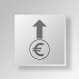 3D Euro raise Button Icon Concept Royalty Free Stock Images