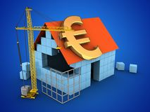 3d euro sign. 3d illustration of block house over blue background with euro sign and construction site Stock Images