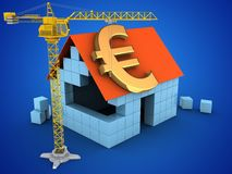3d euro sign. 3d illustration of block house over blue background with euro sign and crane Royalty Free Stock Photography