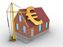 3d euro sign. 3d illustration of bricks house over white background with euro sign and construction site Stock Photography