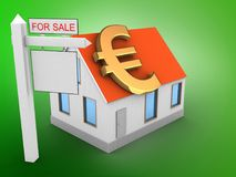 3d euro sign. 3d illustration of house red roof over green background with euro sign and sale sign Stock Photo