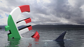 Euro symbol with Italy flag sinking in the sea Royalty Free Stock Photography