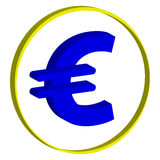 3D euro symbol on white background. Vector illustration Stock Photography