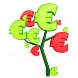 3d euro teken op een boom Royalty-vrije Stock Foto
