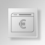 3D Euro Web Browser Button Icon Concept. 3D Symbol Gray Square Euro Web Browser Button Icon Concept Stock Photo