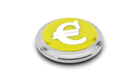3d euro yellow. Euro button in yellow on white background Royalty Free Stock Photo