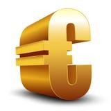 3D euro złoty znak na bielu Zdjęcie Stock
