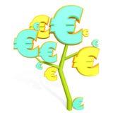 3d euro znak na drzewie Zdjęcie Royalty Free