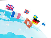 3d Europe map marked with countries flags Royalty Free Stock Photo
