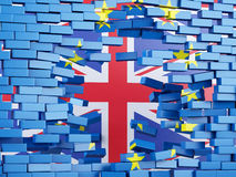 3d European Union Wall with Great Britain flag. Brexit concept. Royalty Free Stock Image