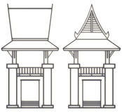 3D evelation drawing of south-east Asian pavilion or temple. 3D elevation drawing of south-east Asian pavilion or temple in front and side view Stock Photo