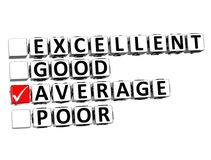 3D Excellent Good Average Poor Button Click Here Block Text Stock Image