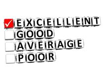 3D Excellent Good Average Poor Button Click Here Block Text Stock Photo