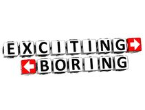 3D Exciting Boring Button Click Here Block Text Royalty Free Stock Photos