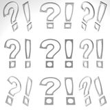 3D Exclamation Mark And Question Mark Royalty Free Stock Photo