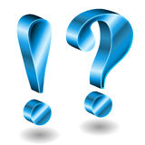3d exclamation and question mark. 3d blue exclamation and question mark  on white Stock Photos