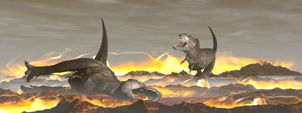 3D exctinction van de tyrannosaurusdinosaurus - geef terug Royalty-vrije Stock Afbeeldingen