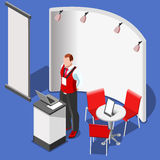 3D Exhibition Booth Stand People Isometric Vector Illustration Royalty Free Stock Photos