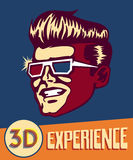 3d experience. Vintage man wearing retro 3d glasses, retro sci-fi 3d movies Royalty Free Stock Photography