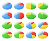 3d exploded pie charts. Set of 3d exploded pie charts. Vector illustration Royalty Free Stock Image