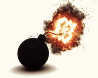 3D exploding bomb. 3D render of an exploding bomb Royalty Free Stock Photo