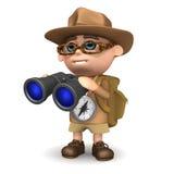 3d Explorer with binoculars. 3d render of an explorer holding a pair of binoculars Stock Photography