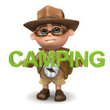 3d Explorer camping Royalty Free Stock Photography
