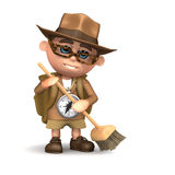 3d Explorer cleans up with a broom. 3d render of Explorer kid using a broom Royalty Free Stock Images