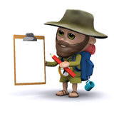 3d Explorer with clipboard and pencil Stock Images
