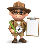 3d Explorer clipboard. 3d render of an explorer character with clipboard and pencil stock illustration