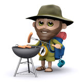 3d Explorer cooking on a barbeque. 3d render of an explorer with a barbecue vector illustration
