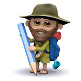 3d Explorer drawing with a pencil Royalty Free Stock Photography