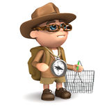 3d Explorer goes shopping. 3d render of Explorer kid with a shopping basket stock illustration