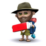 3d Explorer holding a USB memory stick Stock Photography
