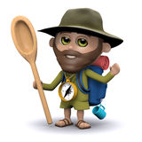 3d Explorer holding a wooden spoon Stock Photo