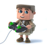 3d Explorer kid is playing video games Stock Photo