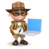 3d Explorer with laptop. 3d render of an explorer with a laptop royalty free illustration