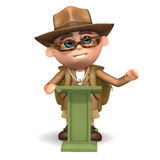 3d Explorer lectures. 3d render of an explorer at a lectern Stock Photo