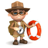 3d Explorer with lifering. 3d render of an explorer holding a lifering Royalty Free Stock Photos