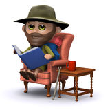 3d Explorer reading a book in his armchair Royalty Free Stock Photos