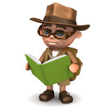 3d Explorer reads a book Royalty Free Stock Image