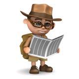 3d Explorer reads a newspaper Stock Photos