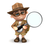 3d Explorer searches. 3d render of an explorer with a magnifying glass vector illustration