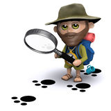 3d Explorer is studying footprints. 3d render of an explorer looking at animal footprints with a magnifying glass Royalty Free Stock Image