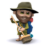 3d Explorer sweeps up the mess. 3d render of an explorer sweeping with a broom Royalty Free Stock Photography