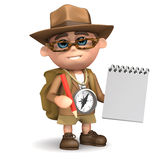 3d Explorer takes notes. 3d render of an explorer with a notepad and pencil stock illustration