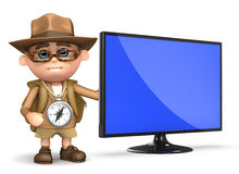 3d Explorer television. 3d render of Explorer kid with new flatscreen television monitor Royalty Free Stock Images