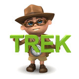 3d Explorer trek. 3d render of Explorer kid holding the word Trek Royalty Free Stock Image