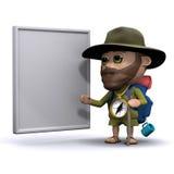 3d Explorer with a whiteboard. 3d render of an explorer with a blank whiteboard Stock Image